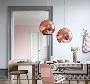 Image 3 - Lukloy lâmpada pendente de bola de vidro, estilo moderno, espelhado, de cor de cobre, iluminação moderna, luminárias 1 peça