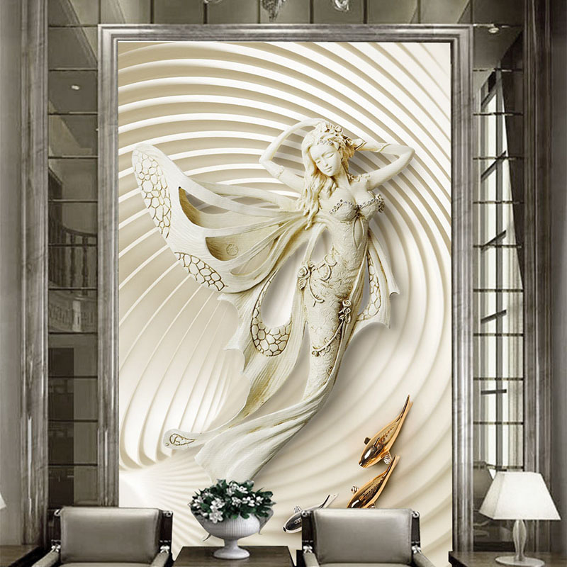 Photo Wallpaper European Style 3D Stereoscopic Fashion Sculpture Wall Mural Living Room Hotel Entrance Hall Backdrop Wall Decor
