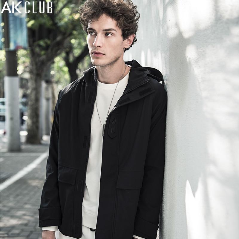 AK Club brand chaqueta Navidad vacaciones chaqueta con capucha dos vías estiramiento poliéster pongee Telas capa hombres chaqueta 1704144