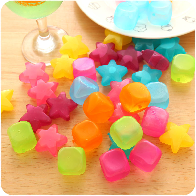cheap 6pcs/ lot Square Shaped <font><b>Ice</b></font> Cubes Plastic Reusable Multicolour <font><b>Ice</b></font> Cube Physical Cooling Tools Party Tool image