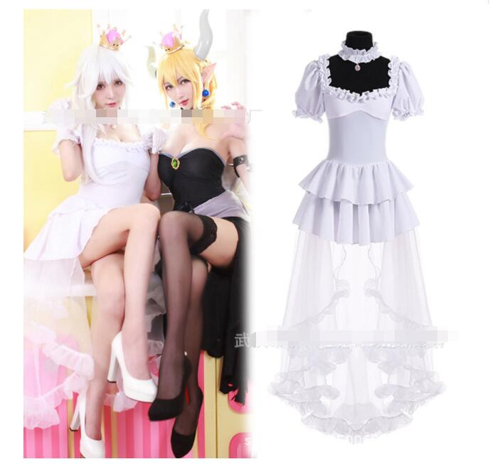 Bowsette Game Super Mario princess King Boo Cosplay Costume Kuppa Koopa Hime Cosplay Dress Halloween Carnival Costumes