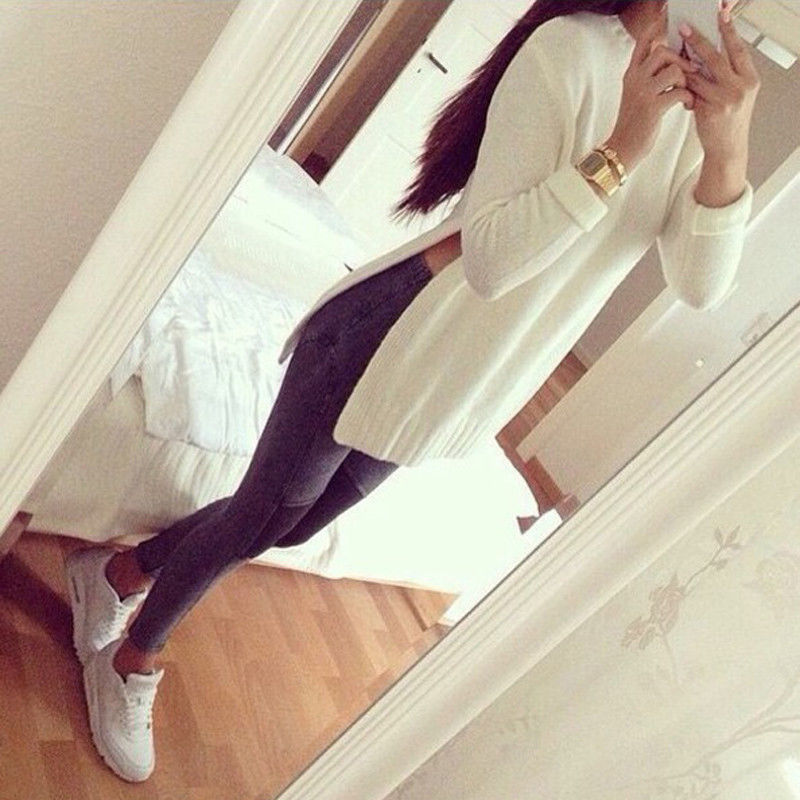 2016 Spring Autumn Winter White Knit Long Sleeve Side Slit Pullover Sweater Women Loose Casual Long Style Sweater Plus Size S-XL