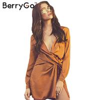 BerryGo Satin High Split Mini Dress Women Long Sleeve Party V Neckwhite Sexy Dress Pajama Autumn