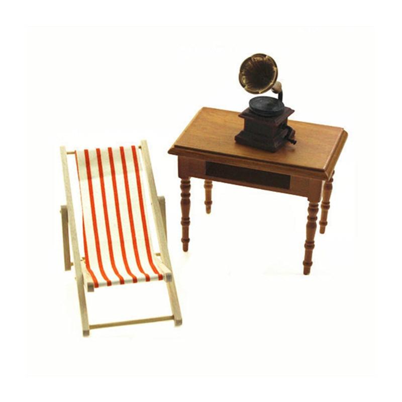 1 Stück Mini Strand Liegestuhl Dollhouse Miniature Stühlen Garten Dekoration Möbel Klapp Streifen Deck Stuhl Diy Wohnkultur Modern Und Elegant In Mode