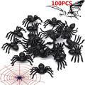 100X NEW Plástico Preto Aranha Truque Brincadeira Brinquedo Decoração Do Partido para o Dia Das Bruxas Casa Assombrada