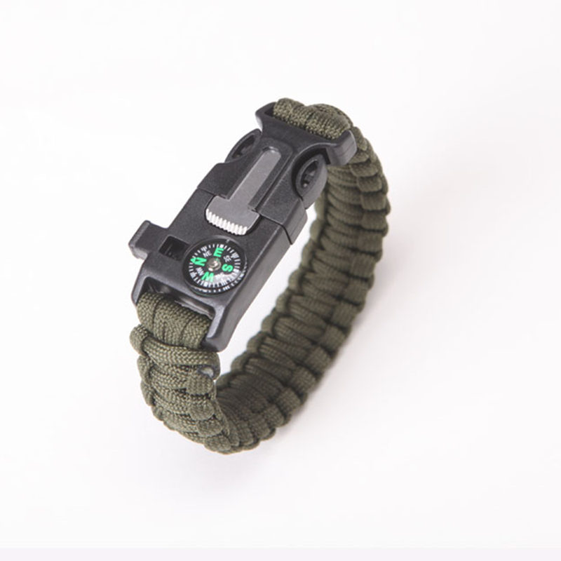 """11//16/""""Compass Whistle Buckle Release LED Light SOS Flash Scraper Paracord"""