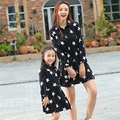 Free Shipping Mother and daughter Dresses FAMILY dress Women Girl Star black dress Parent child Girls Party dress