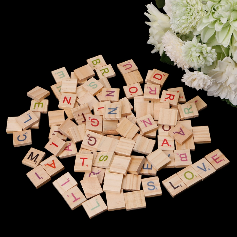 100Pcs/set Wooden Alphabet Letters Tiles Black Scrabble Letters & Numbers For Crafts Wood Home Decoration Accessories-W110