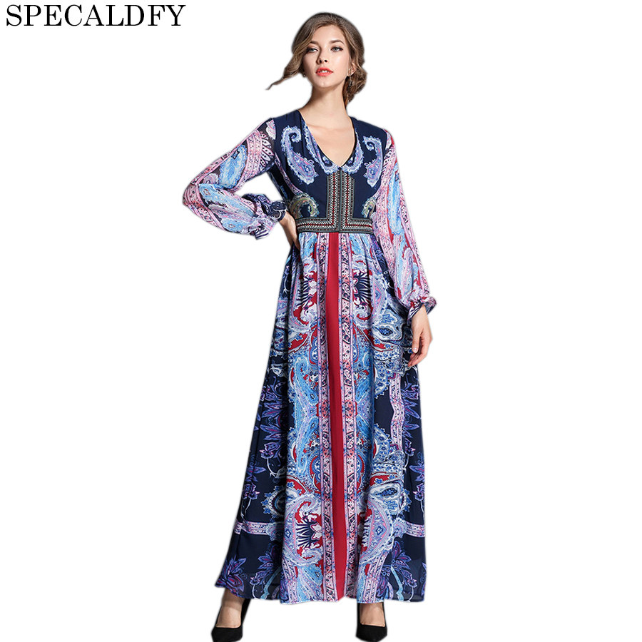 Bohemian Fashion Dress Fall Runway Dresses 2017 Women High Quality Autumn Chiffon Long Dresses Evening Party Vestidos Mujer