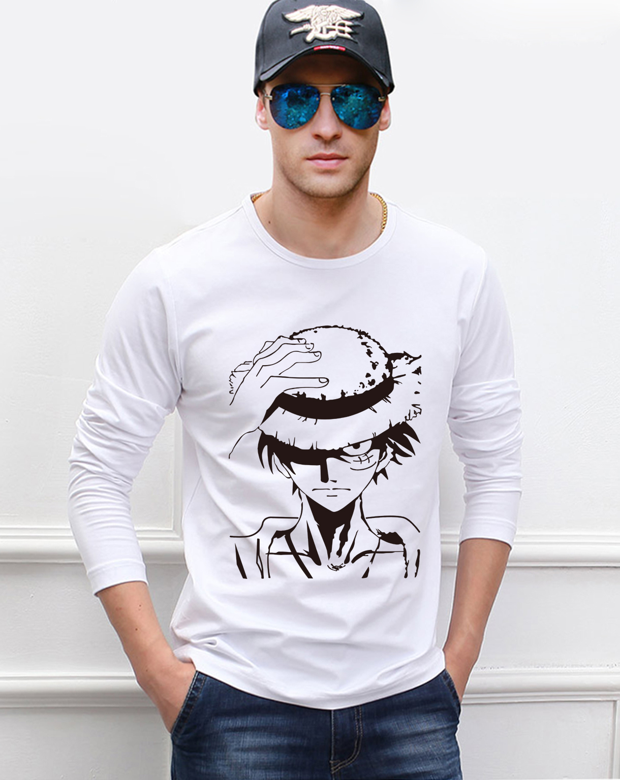 Anime One Piece Luffy men's long sleeve t-shirts 2019 spring new 100% cotton casual harajuku men t shirt cartoon tshirt for fans