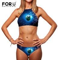 3D Shark Delfin Zwierząt Projekt Kobiety Sexy Bikini Set Drukowane Wysoka Neck Swimsuit Stroje Kąpielowe Halter Biquini Brazylijski Strój Kąpielowy