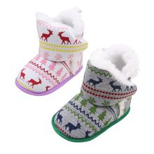 New Christmas Style Deer Printed Knitted Fabrics Winter Infant Toddler Girls Snow Super Warm Soft Soled Shoes Boots Booty