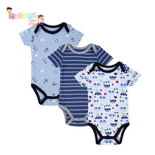 3pcs/lot Baby Romper Jumpsuits Short Sleeve Cotton Cartoon Printed Stripes Newborn Rompers Boy Girl Jumpsuit