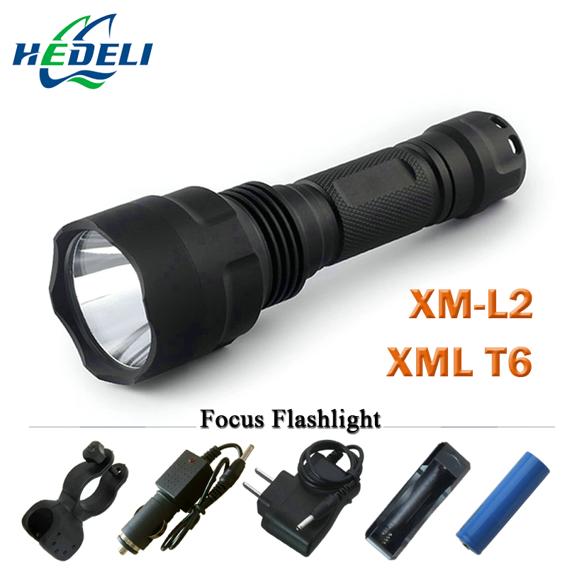 powerful led flashlight Torch rechargeable waterproof tactical hunting light cree xml t6 q5 xm-l2 rechargeable batteries 18650 led tactical flashlight 501b cree xm l2 t6 torch hunting rifle light led night light lighting 18650 battery charger box