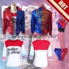 Comando suicida Harley Quinn payaso cosplay femenino bordado chaqueta de la capa conjunto uniforme (chaqueta, camisa, pantalón, guante)
