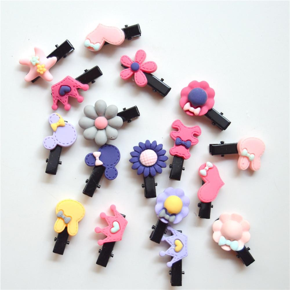 20PCS/lot Cute Flower Bow Cartoon Hair Accessories Hair Clips For Girls Cute Children Hairpins Colorful For Kids Hairgrips