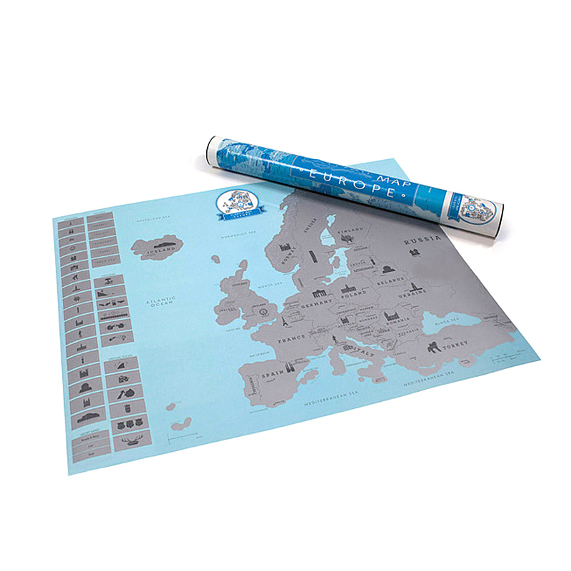 Creative Scratch Europe Map DIY Art Paper Travel Vacation Personal Mark Wall Decoration Gift