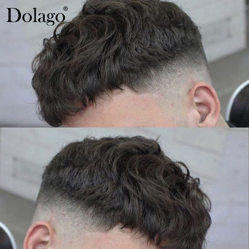 Replacement Systems Mono Lace NPU Indian Remy Hair Toupee Mens Hair 130% Density Men Hair Toupee Durable Thin Skin Dolago Remy