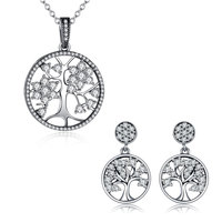 WOSTU Hot Sale Authentic 925 Sterling Silver Clear CZ Tree Of Life Hope Necklace Earrings For