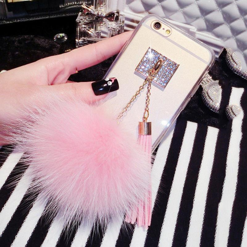 Симпатичные DIY мягкого лисьего Мех животных мяч Телефонные Чехлы для iPhone 7 6 6S плюс SE 5 5S Капа Bling Бриллиантовая подвеска кисточкой Clear ТПУ крыш…