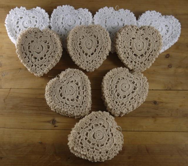 Decorative Doilies Coasters Vintage Crochet Heart shaped Pattern ...