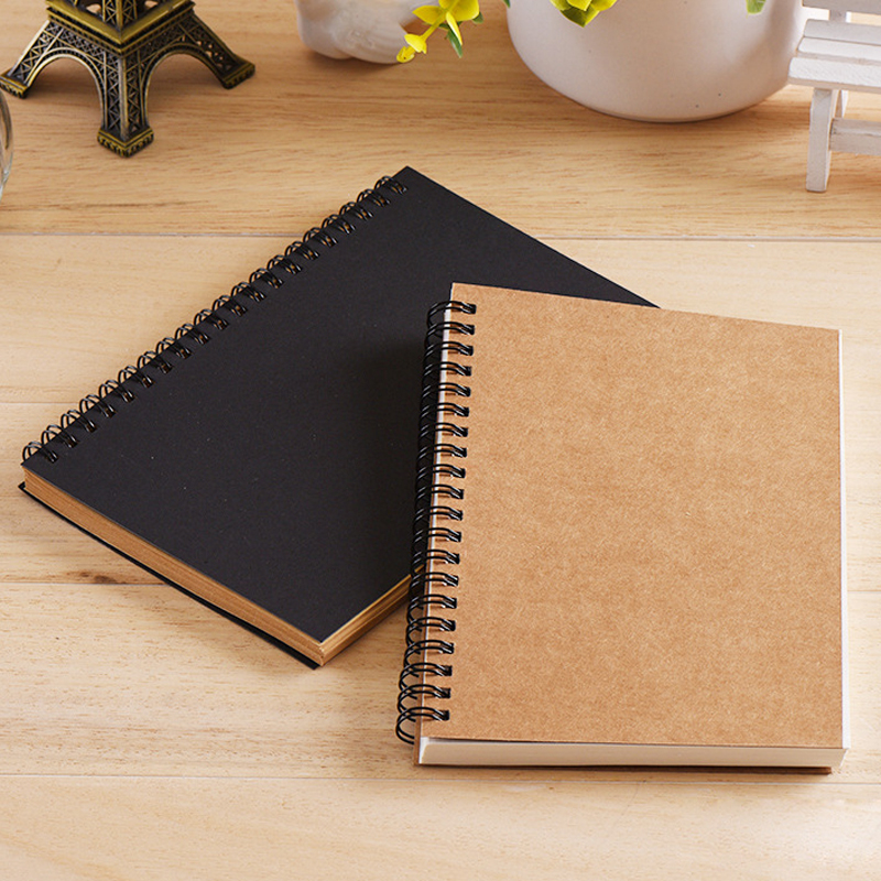 Cute Small Sketchbook Notebook For Drawing Painting Graffiti Soft Cover Black Paper Sketch Diary Book Memo Pad Office School