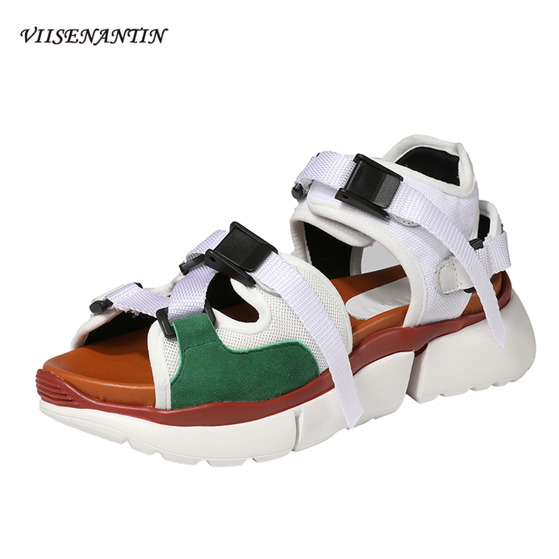 VIISENANTIN Muffin Thick soled Sandals Female 2019 Summer Ins Color Matching Fairy Peep Toe Tide Women 39 s Comfortable Beach Shoes in Middle Heels from Shoes