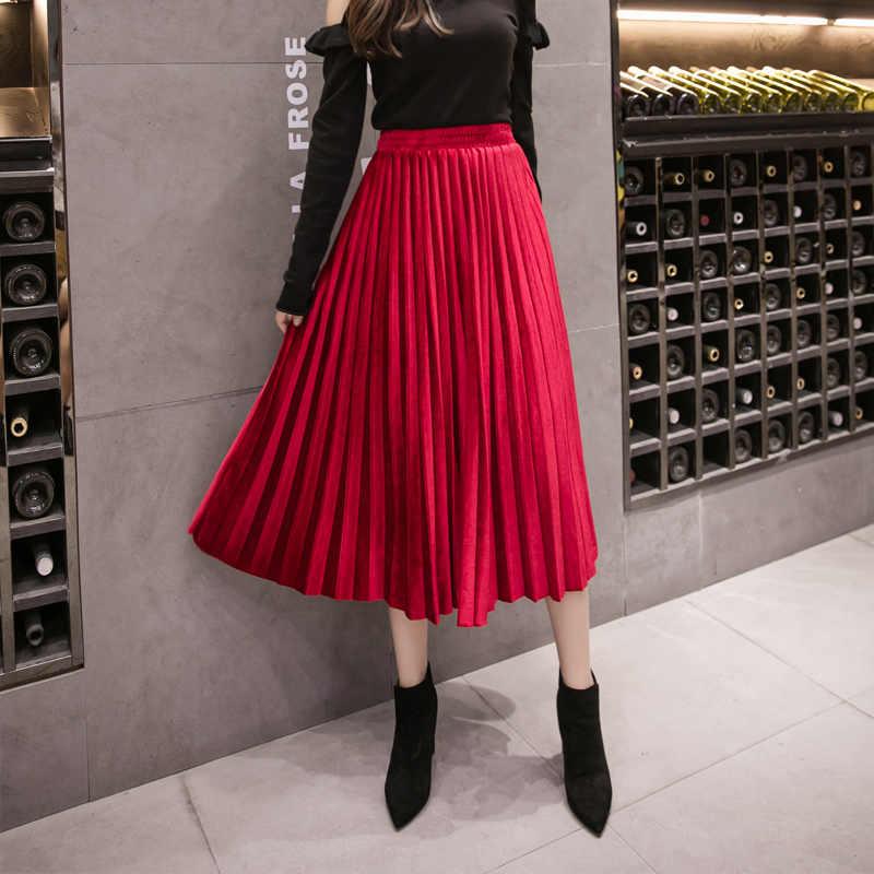 ad8c7ed44 2018 New Women Long Skirt Pleuche Pleated Velvet Skirts Red Blue Black 5502