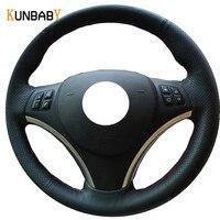 KUNBABY Black Genuine Leather DIY Car Steering Wheel Cover for BMW E90 320i 325i 330i 335i E87 120i 130i 120d Car Accessories