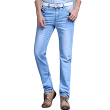 Big Sale Spring Summer Jeans Utr Thin Free Shipping 2018 Mens Fashion Jeans Menpants Clothes New Fashion Brand cheap SULEE Zipper Fly Regular Stripe Straight Lightweight Full Length England Style Solid Button 7283 Light Medium Stonewashed