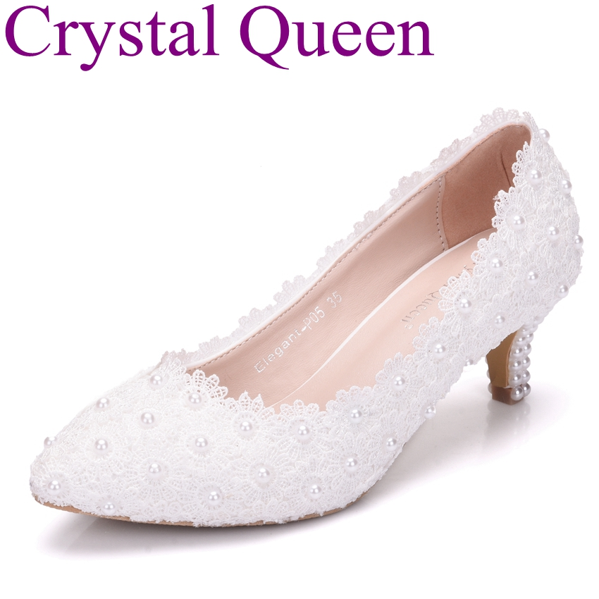 Crystal Queen 5cm Heel Wedding Shoes White Lace Flower