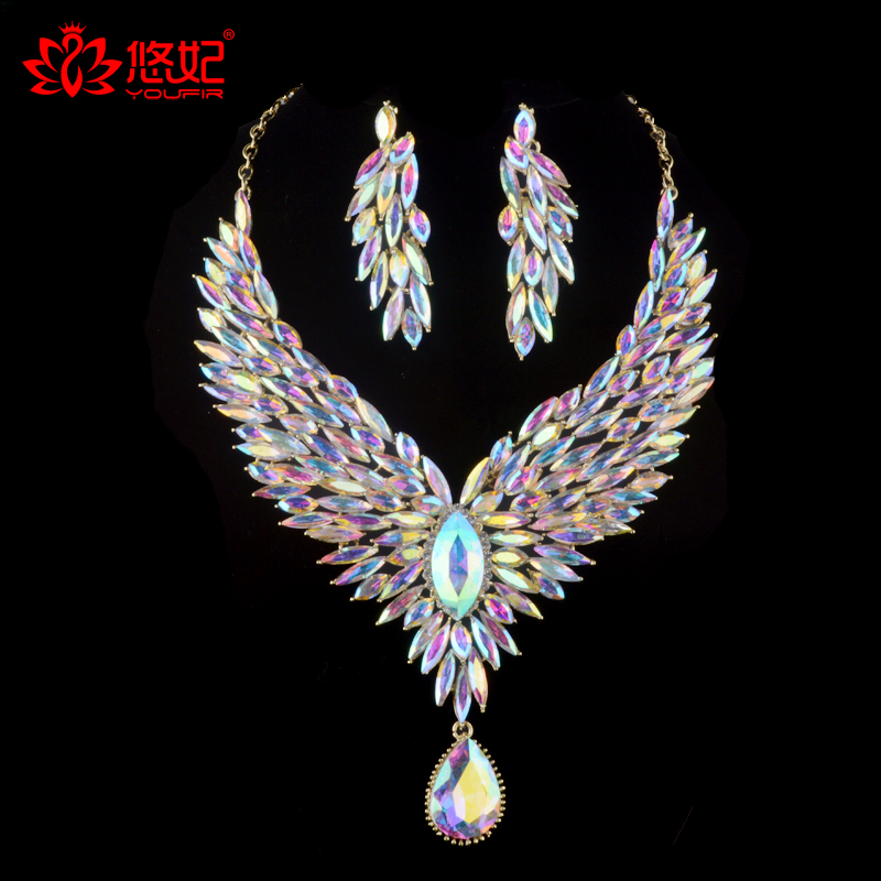 Bridal Wedding jewelry set Aurora color rhinestone cubic for women's party necklace earrings set peacock wig crystal AB jewelry shining rhinestone peacock colorful femininity earrings golden pair
