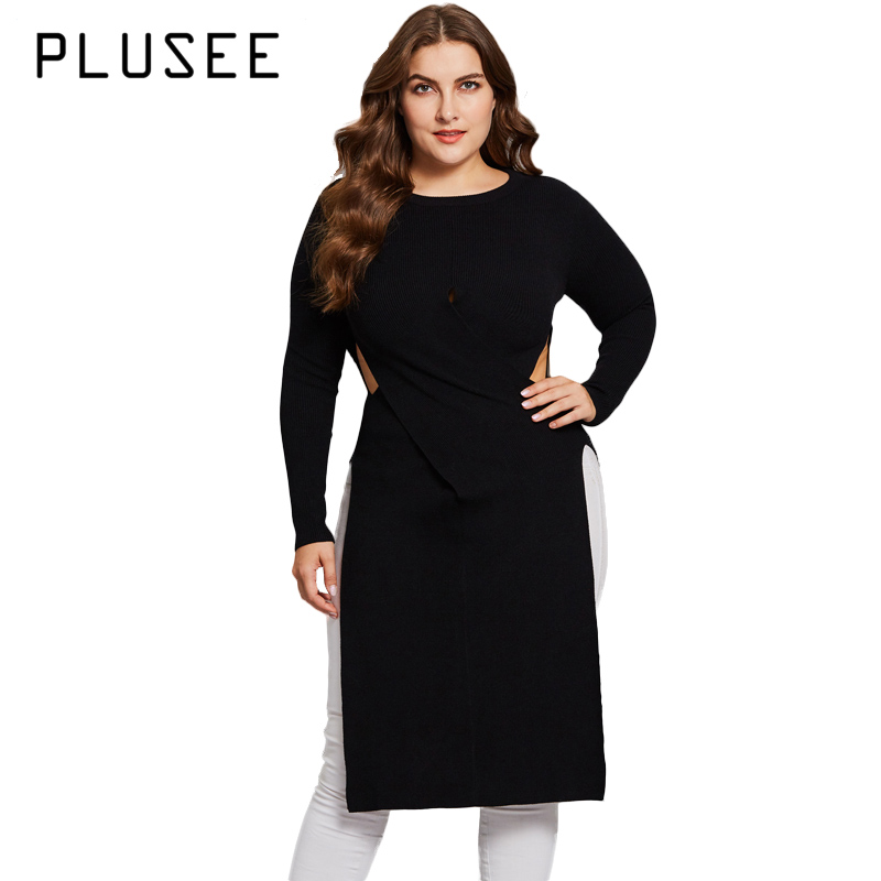 PLUSEE Women Casual Plus Size Hollow Out Black Sweater Big Size Knitted Wear Long Sleeve Criss-Cross XL XXL XXXL criss cross side slit hollow out sweater