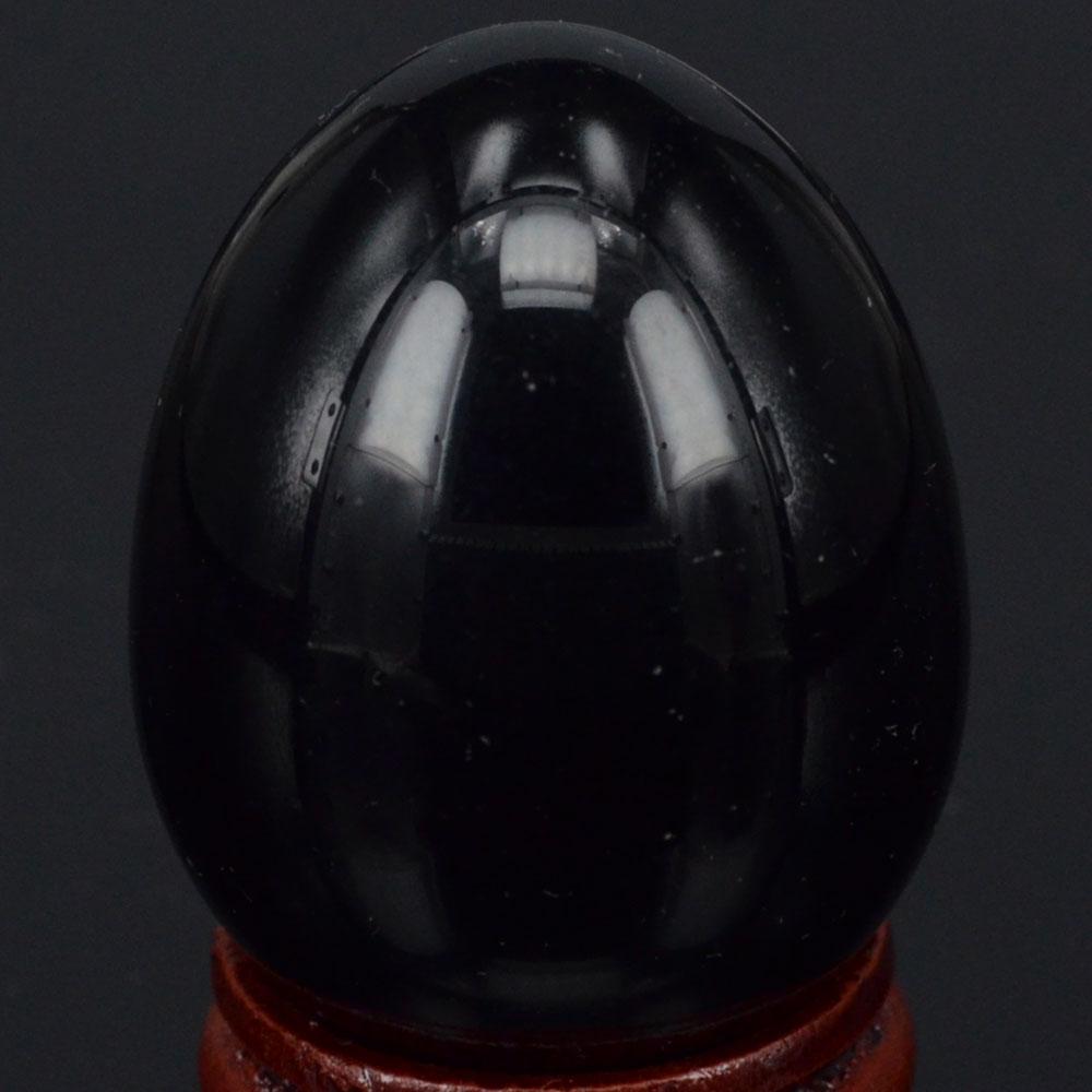 34x44MM přírodní drahokam černá Obsidian koule vajíčka - Dekorace interiéru
