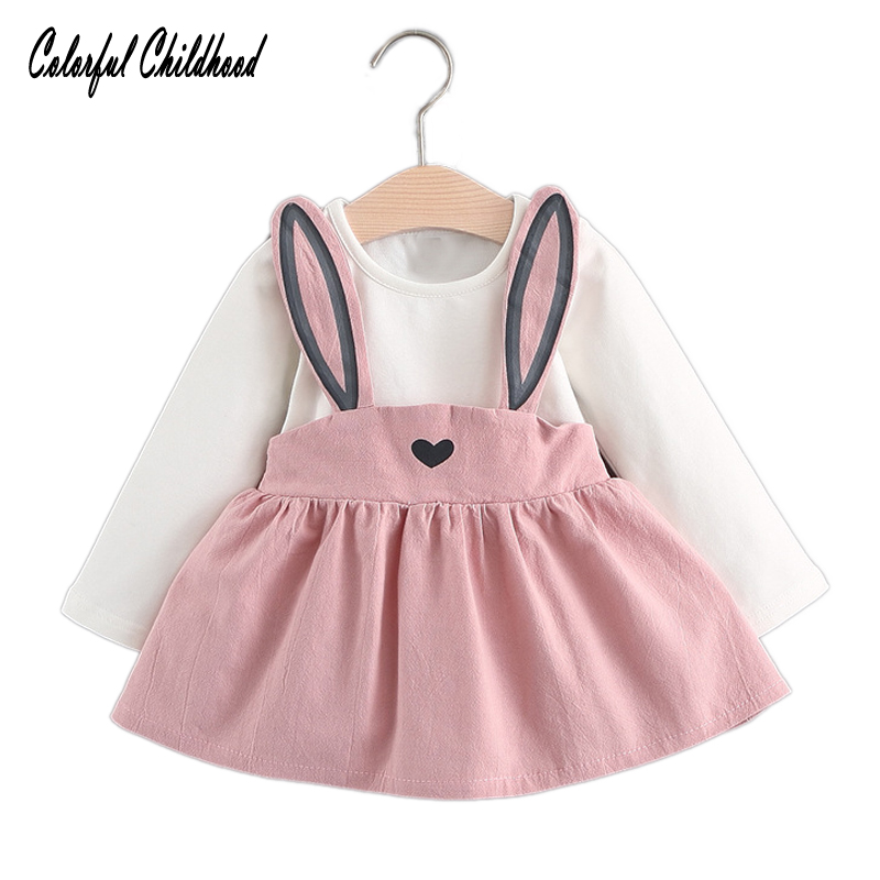 Colorful Childhood Baby Dresses 2017 New Autumn Baby Girls Clothes Cute Bunny Ears Printing Princess girls Dress Suit For 6M-24M