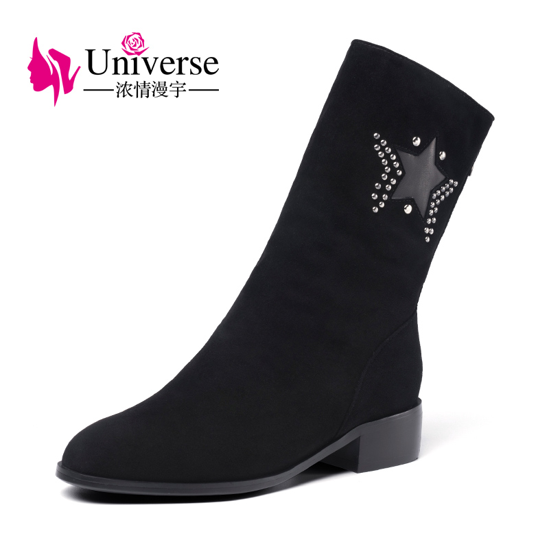 Universe women kid suede mid calf boots black low heel boots with warm short plush lining G368 lukuco pure color women mid calf boots microfiber made buckle design low hoof heel zip shoes with short plush inside