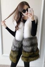 three shade patchwork hit shade fox fur vest girls waistcoat winter heat pure actual fox fur lengthy sleeveless coat