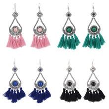 LiuXSP Flower shape Tassel Earrings For Women Vintage Fashion Jewelry Long Drop Earrings Round Big Hanging Dangle Earrings