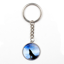 Fashion retro moon roaring wolf glass necklace personality pattern pendant female mens sweater chain bag charm car friends gift