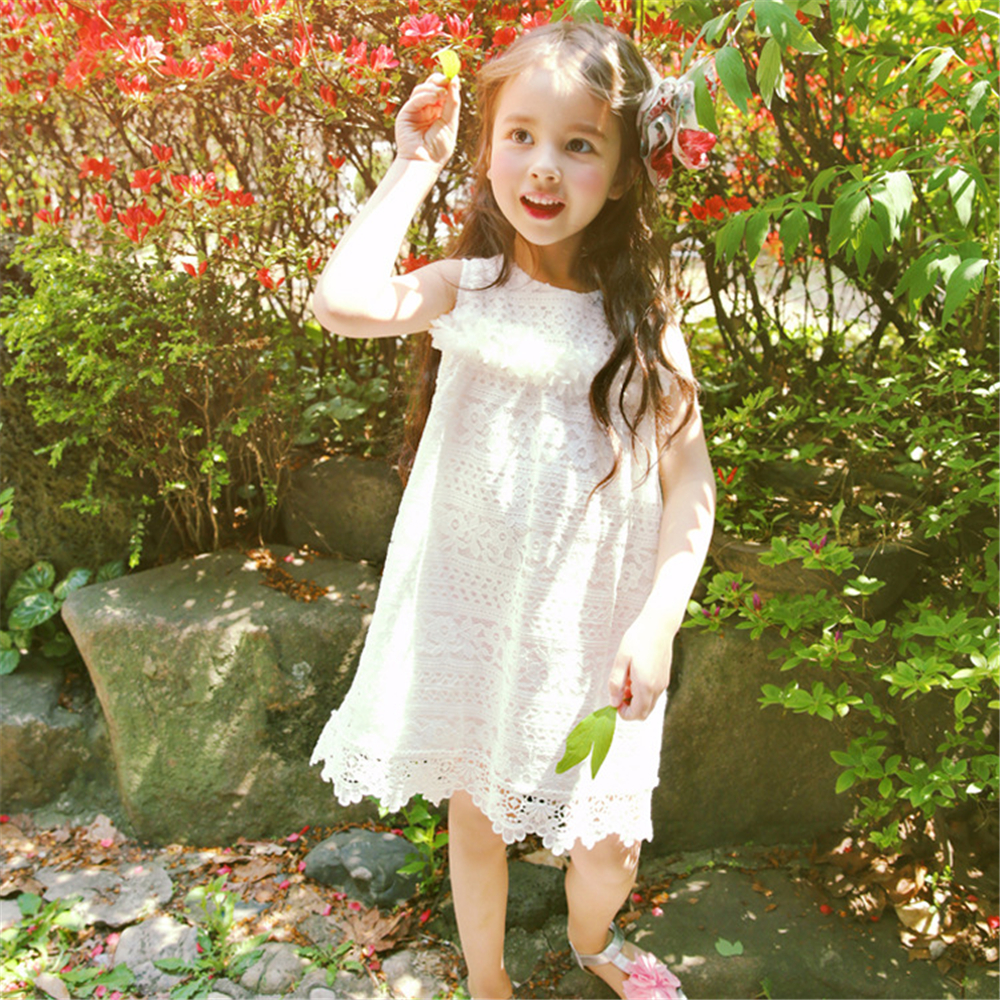 Summer Fashion Cute Lace Dress fro Baby Girls Flower Girl Vestidos Children Korean Style Clothing Kids White Princess Dress Robe baby lace princess dress girls summer 2017 korean version of the new kids children gauze qz 3305