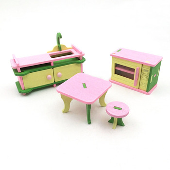 1:12 Dollhouse Miniature Furniture Wooden Creative Bathroom Bedroom Restaurant For Kids Action Figure Doll House Decoration Doll - 90584