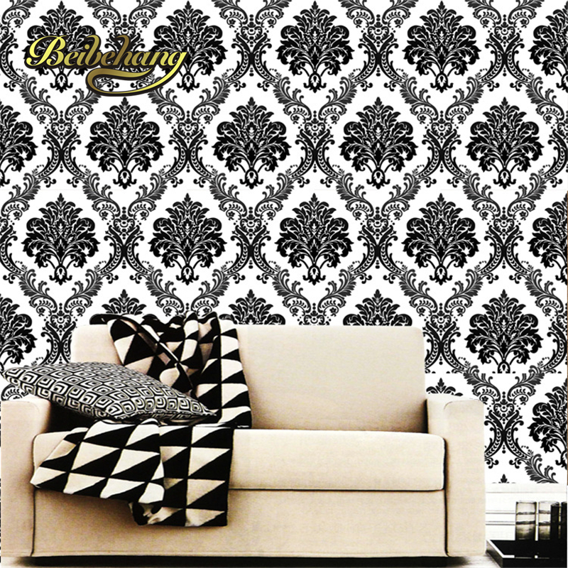 beibehang three-dimensional relief black wallpaper luxury European style bedroom living room TV background wall papel de parede