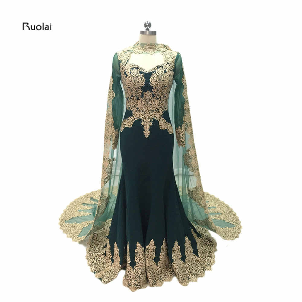 d23dc70628c9 2017 Custom Made Gold Lace Appliques Mermaid Muslim Evening Dresses Sheer  Sleeves Arabic Prom Party Dress