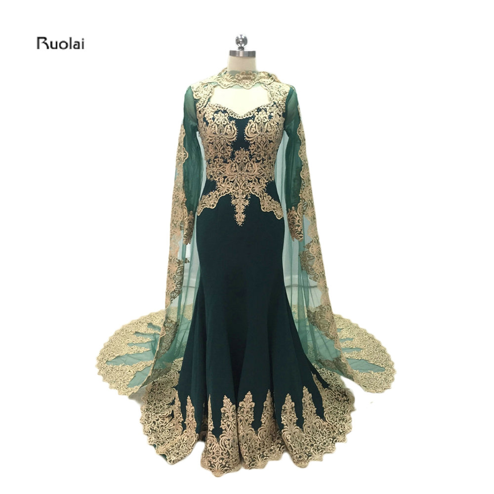 2017 Custom Made Gold Lace Appliques Mermaid Muslim   Evening     Dresses   Sheer Sleeves Arabic Prom Party   Dress   With Cloak Emerald