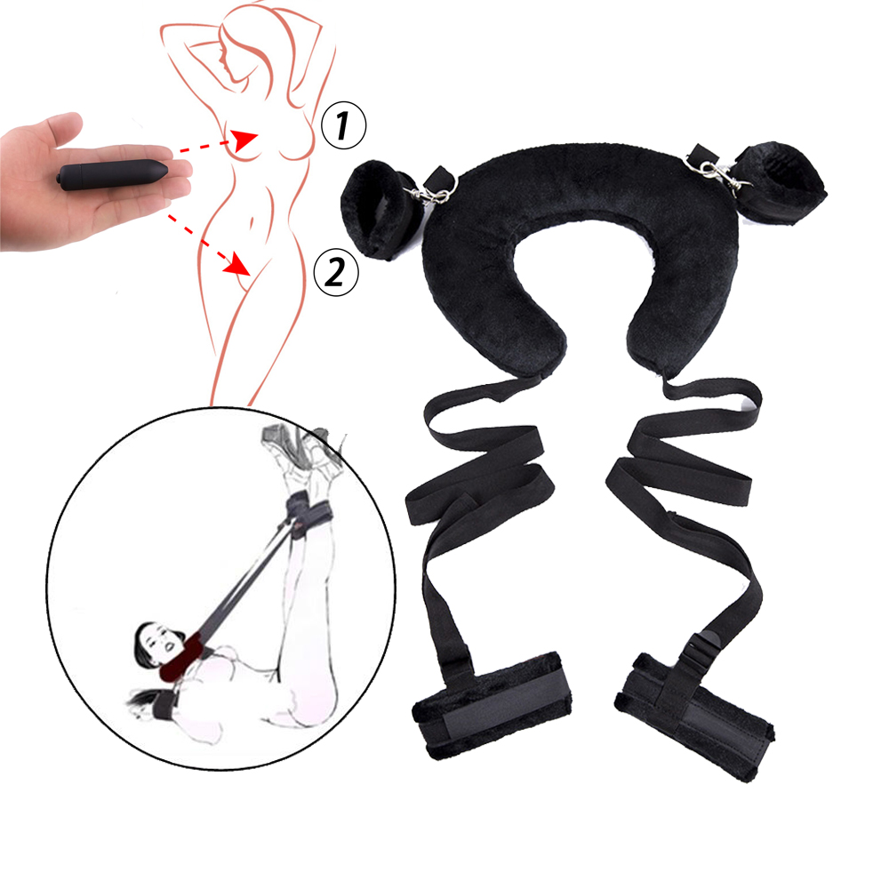 BDSM Bondage Sex Kit Leather Handcuffs Fetish Adult Restraints Bondage Vibrator Sex Toys For Women Slave Game