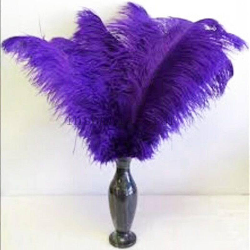 100pcs big pole 100% natural Ostrich Feather 20 80CM/6 32Inch dyed purple for party mask headdress clothing accessories