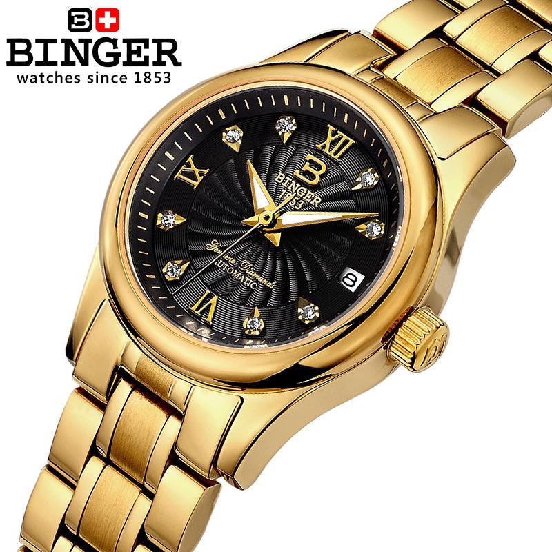 18 К Золото Механические Швейцария BINGER Для женщин часы роскошные часы полностью из нержавеющей стали Водонепроницаемый женский Наручные ча...