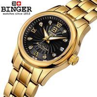 18K gold Mechanical Switzerland BINGER Women's Watches luxury Clock full stainless steel Waterproof Female Wristwatches B 603L 7