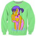 Bulma Sweatshirt vibrant jumper Dragon Ball Z Characters Cartoon Sweats Women Men Outfits Hoodies black/green plus size S- 5XL
