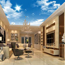 3D Wallpaper Blue Sky visions with White Clouds Dandelion light your house